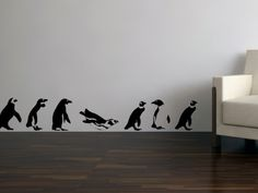 Marching Penguin Vinyl Wall Art Decals | bombgrafx - Housewares on ArtFire