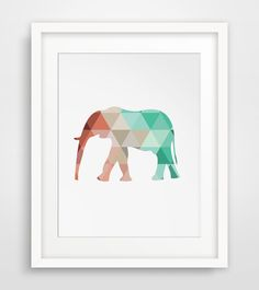 Mint and Coral Elephant, Mint Elephant Print, Coral Elephant Print, Mint Wall Art, Coral Wall Print, Geometric Elephant Print, Coral & Mint by MelindaWoodDesigns on Etsy https://www.etsy.com/listing/193061985/mint-and-coral-elephant-mint-elephant