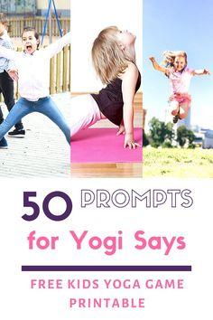 Yogi Says: an Easy and Active Yoga Game for Kids! Kids Yoga Poses, Yoga For Kids, Kid Yoga, Yoga Lessons, Lessons For Kids, Music Lessons, Yoga Games, Gym Games, Preschool Yoga