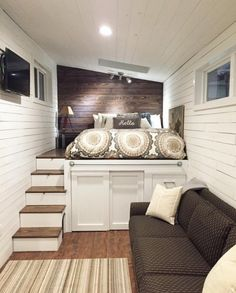 #tumbleweed #tinyhouses #tinyhome #tinyhouseplans Couple's Wandering on Wheels Tiny Home 002. Couldn't get a picture of everything, but they also have a dining taable that goes from the left wall to the right, or almost 8 feet.