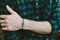 Gear bracelet form men, blue cord