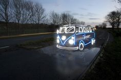 Amazing VW Camper from the Light Graffiti Cars Project - imagine if that thing had rolled into Woodstock......LOL I love VW vans.