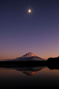 Moonlight Mt.Fuji from Lake Syoji, Yamanashi, Japan by peaceful-jp-scenery