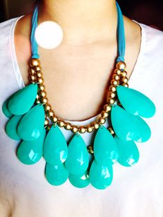 Teardrop Necklace - Turquoise Blue Briolette Statement Necklace - Layered, Bib, Bubble Necklace -  Birthday, Gift