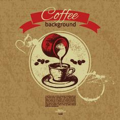 Coffee background retro design vector 02