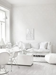 Layers of white - a pop of colour would bring this room to life #white #livingroom