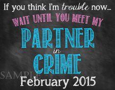 Partner in Crime Pregnancy Announcement // by ChalkingItUpBoards