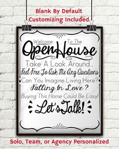 Open House Realtor Real Estate Personalized Sign by StarPrintShop