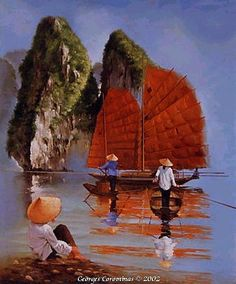 Art Zen, Chinese Artwork, Art Asiatique, Boat Painting, Thai Art, Historical Art, Art World, Asian Art, Amazing Art