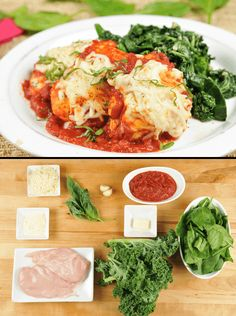 We took the flavors you love from classic Chicken Parmigiana and reworked them into a heart-healthy, low-carb, low-calorie recipe that's big on flavor. Tender chicken breasts are roasted with Parmesan, smothered in a savory marinara sauce, covered with creamy mozzarella, and served over a bed of garlicky sautéed kale and spinach. The result is comforting and utterly delicious without weighing you down.