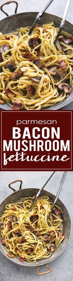 One Pan Parmesan Bacon Mushroom Fettuccine   http://lecremedelacrumb.com