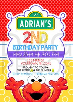 Sesame Street Elmo, Abby, or Cookie Monster Birthday Download Invitation