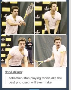 Sebastian Stan playing tennis