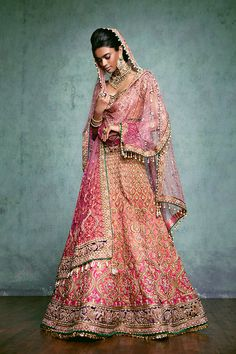Couture - Tarun Tahiliani Tarun Tahiliani Indian wedding bridal fashion style pink gold green