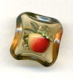 Vintage Celluloid Apple Button | Weeber Style