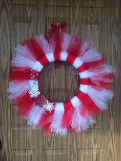 Red and White Snowflake Tutu Wreath made by Sabrina at Little Red Wagon Creations.