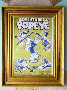 16 24 Disney Collectible Popeye Reproduction Framed Art Print Movie Rare Unique Vintage Gold Custom Large Wood Wall Décor Limited Edition by GeorgeSher on Etsy