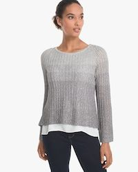 Click to see the back of this sweater! 40% off @ WHBM. Sequins on an Ombre Twofer Sweater.