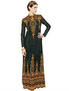 Valentino Cotton Arabesque Patch Laced Long Dress on shopstyle.com
