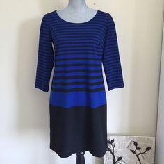 Ann Taylor Blue & Black Striped Dress Ann Taylor Blue & Black Striped Dress. Practically new! Made in Philippines. Small petite but fits regular Medium. Ann Taylor Dresses Midi