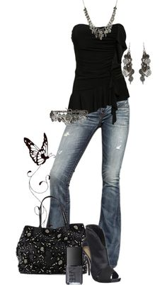 I'd wear this.. minus the earrings, necklace, bracelt or belt or whatever the heck it's supposed to be.. oh and minus the purse and shoes and.... butterfly? LOL! Okay I guess I just like the jeans and shirt!