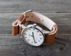 Leather Nato Watch Strap / Custom Walnut Brown Vegetable