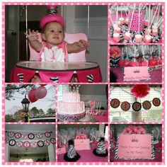 Piper's 1st Birthday!! Pinterest inspired! #cake pops #water balloon cooler #marshmallow pops #pizza slices #cake pop stand #pop stand #birthday banner #zebra print #zebra #first birthday party #glitter #pink #princess #party labels #food labels #thank you tags