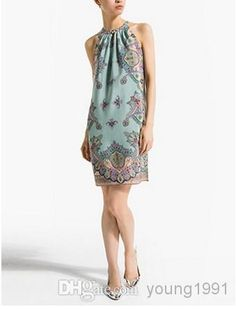 Wholesale Mens Shorts - Buy Wholesale 2014 New Summer Ladies Occident Fashion Vintage Print Dresses Elegant Slim Fit Halter Party Dresses, $17.8 | DHgate