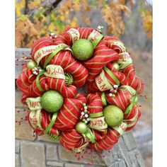 Merry Christmas Lime and Red Deco Mesh Wreath