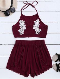 Cierre y pantalones cortos florales del halter del cordón - Vino Rojo S