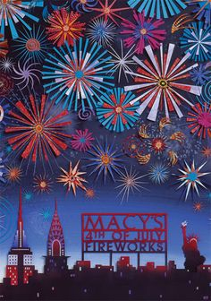 Macys Fourth of July Fireworks by Jo Lynn Alcorn cool collage art for kids for bonfire night , july pictures Fireworks Art, 4th Of July Fireworks, Fourth Of July, Fireworks Design, Firework Safety, 4th Of July Celebration, Paper Illustration, Paper Cutting, Rock Climbing