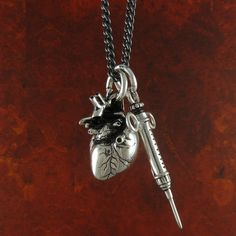 Anatomical Heart and Syringe Necklace Antique by LostApostle