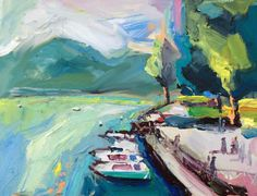 Richard Claremont #Art - Autumn in Lake Annecy - #Seascape #Oil #Paintings for Sale