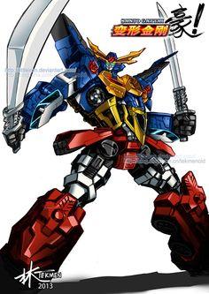 Sanjo Gattai Go-Kenzan by littleiron on DeviantArt Gundam, Joker Pics, Vintage Robots, Super Robot, Bendy And The Ink Machine, Robot Art, Power Rangers, New Art, Transformers