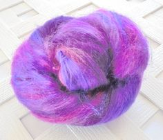 PURPLE HAZE 2.0 - Art Batts, Batts for Spinning, Batts for Felting - Soft Luxury Art Batts, Merino Wool, Bamboo, Kid Mohair Locks, Roving by PurpleLamb on Etsy