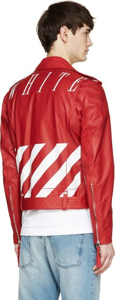 Off-White Red Leather Biker Jacket