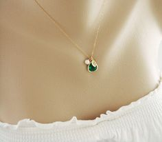 Personalized Initial Gold Fill Necklace Emerald by hotmixcold, $33.00