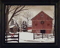 The Christmas Barn by Billy Jacobs 15x19 Red Barn Winter Landscape Country Primitive Folk Art Print Wall Décor Framed Picture >>> You can find more details by visiting the image link.
