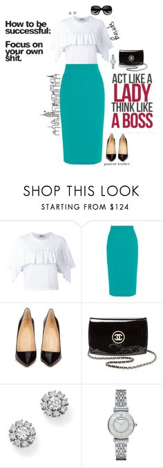 """""""Boss Babe"""" by jenily ❤ liked on Polyvore featuring MSGM, Roland Mouret, Christian Louboutin, Chanel, Roberto Coin and Emporio Armani"""