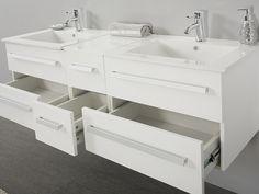 Meble łazienkowe białe -  2 umywalki ceramiczne + 2 lustra - MADRID ✓ Kupuj bez ryzyka z odroczonym terminem płatności z gwarancją 365 dni na zwrot towaru