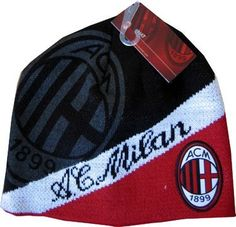 4188771866027 Ac Milan Hat Cap Beanie Official Uefa Soccer Brand New Winter Warm Quality  Knit by Rhinox