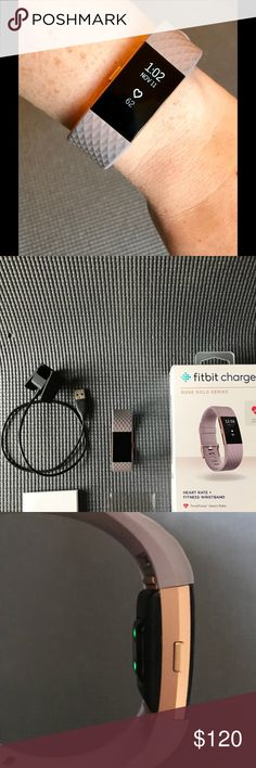 Fitbit Charge 2 HR Rose Gold Series Fitbit Charge 2 Heart Rate & Fitness watch works perfectly!  Beautiful lavender wrist band with rose gold stainless steel tracker. Works with iOS, Android & Windows devices. Purchased from Amazon May 2017 per 6th photo. Gently loved condition. No scratches on the tracker. Only imperfection is color transfer to loop keeper shown in last photo.   Comes with original box including manual & charger. Also including three IQ Shield brand screen protectors…