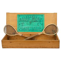 For Sale on - The Alexandra Lawn Tennis Set. A rare pair of early lawn tennis rackets in good original condition by Feltham of London, both stamped on the top 'The Alexandra'. Tennis Set, Lawn Tennis, Tennis Tips, This Is Us Movie, Vintage Tennis, Tennis Clothes, Yellow Painting, Bowling Ball, Sports Art