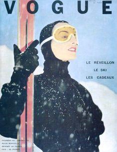 Vogue Paris --- December photo by Robert Doisneau Ski Vintage, Vintage Ski Posters, Vintage Winter, Mode Vintage, Vintage Vogue, French Vintage, Robert Doisneau, Vogue Magazine Covers, Vogue Covers