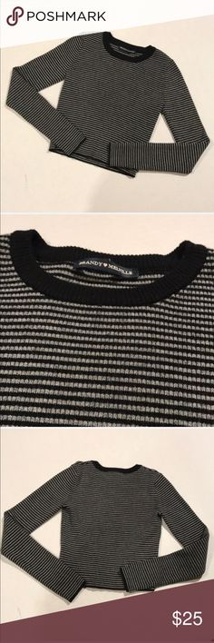 Brandy Melville Cropped Sweater Shirt Brandy Melville  Cropped sweater Black and gray strips Crew neck  Very soft No flaws  One size fits all   Bundle and save! Prices are always negotiable   79 Brandy Melville Tops Crop Tops