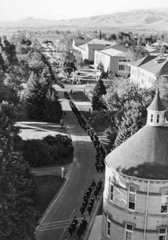 View of Commencement procession from Old Main :: Utah State University Historical Photo Collection