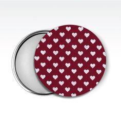 Zrcátko látkové, www.udelejsiplacku.cz/eshop  udělej si placku #placky #zrcátko #udelejsiplacku #badge #pin #hearts #mirror #fabric #látkové