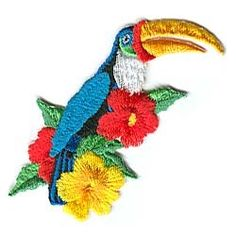 Embroidered Toucan patch, iron on appliqué $2.50