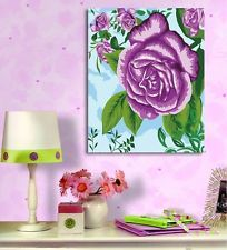 Framed Acrylic Paint by Number kit 50x40cm (20x16'') Purple Rose DIY PBN LG7049