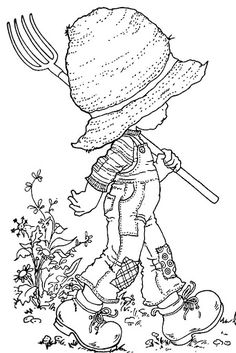 Sarah Kay - This would be fun to color. Images Hello Kitty, Hobbies To Try, Holly Hobbie, Coloring Book Pages, Digital Stamps, Free Coloring, Embroidery Patterns, Sketches, Clip Art